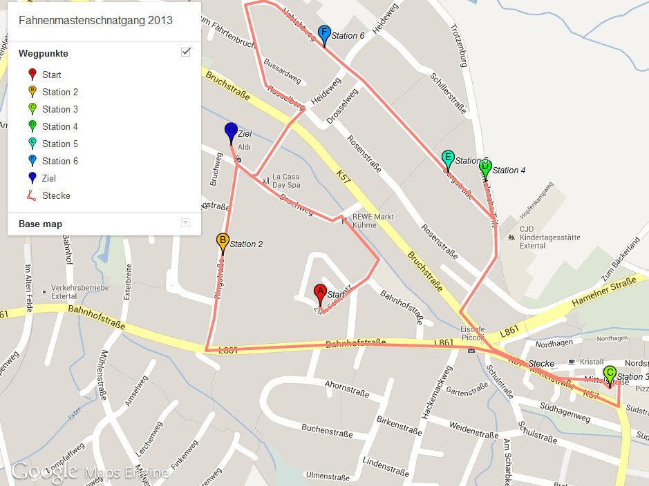 Route Fahnenmastenschnatgang 2013